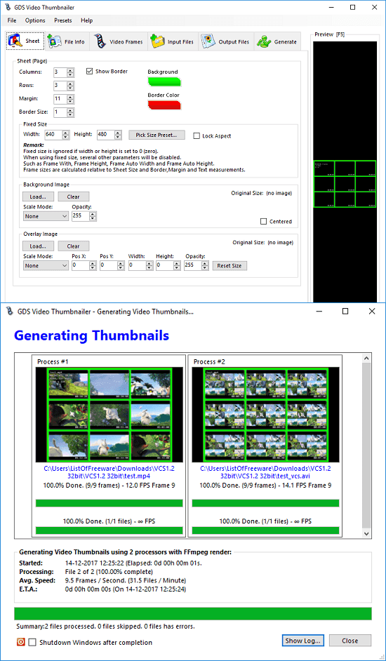 GDS thumbnailer create contact sheets