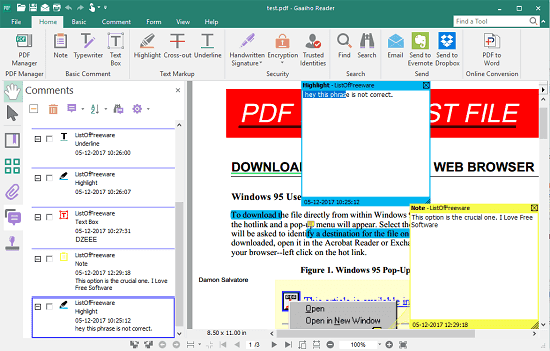 Gaaiho PDF Reader open XFDF files