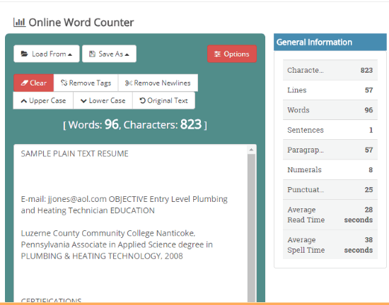 Online Word Counter interface
