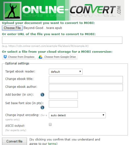 Online-convert.com interface