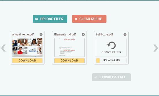 PDF to MOBI interface