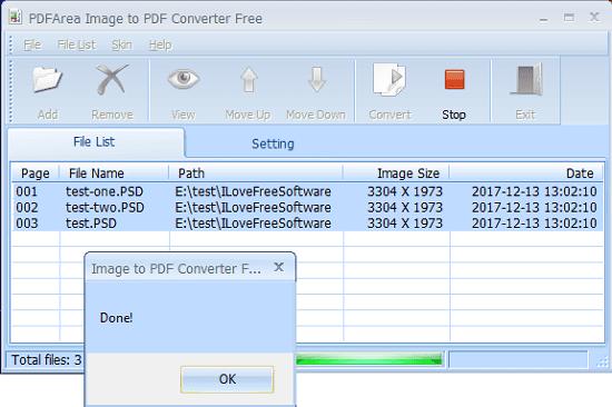 PDFArea Image to PDF converter free