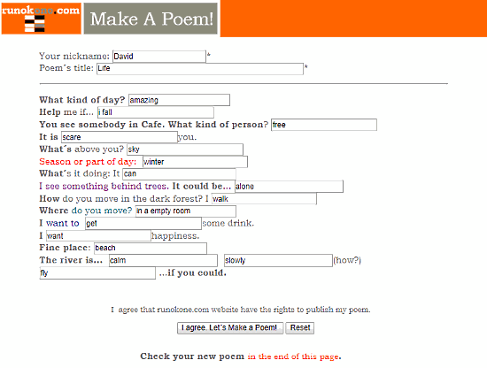 rhyming poem generator