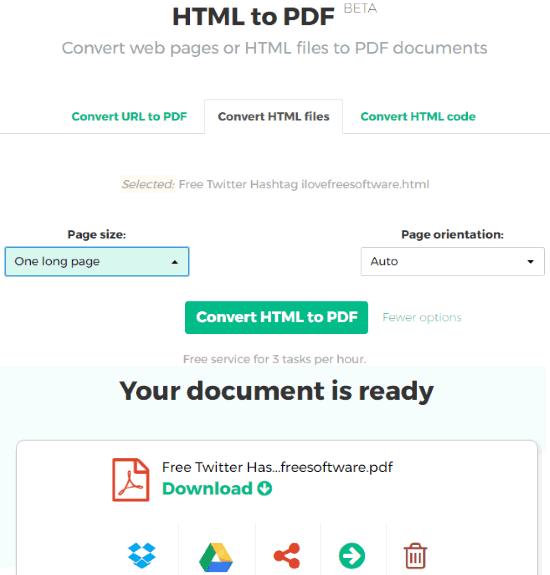 Sejda HTML to PDF