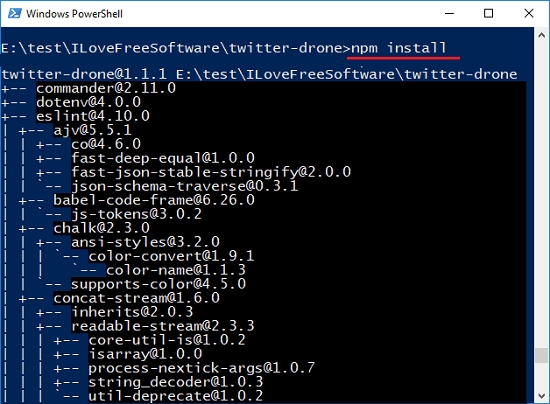 Twitter-drone npm install