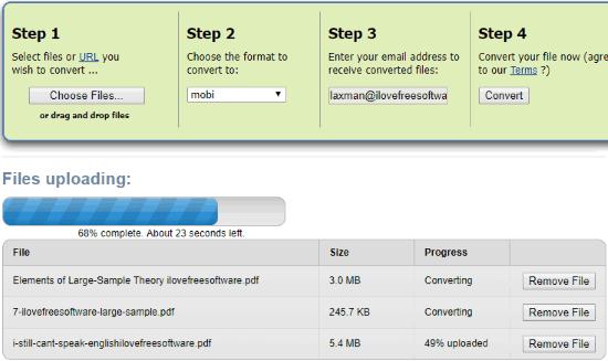 Zamzar PDF to MOBI