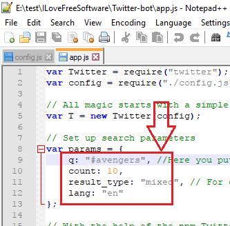 aap js configuration twitter bot