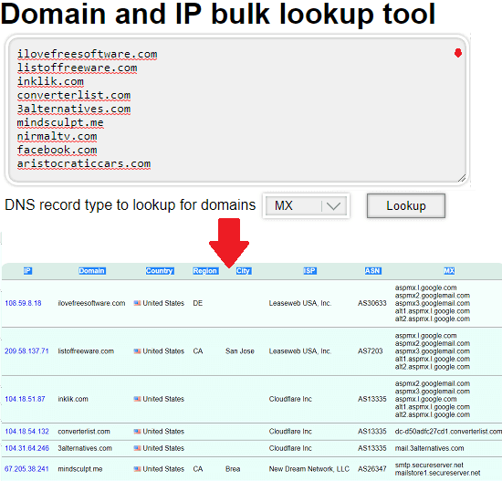 bulk whois lookup by InfoByIP