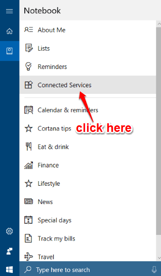 click connected services option