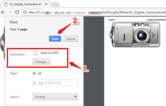 convert svg to pdf using chrome browser