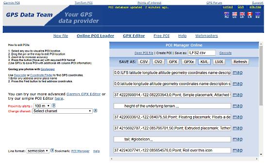 Garmin GPS Data: generate kml from csv