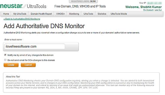 Ultra Tools: dns monitoring notification