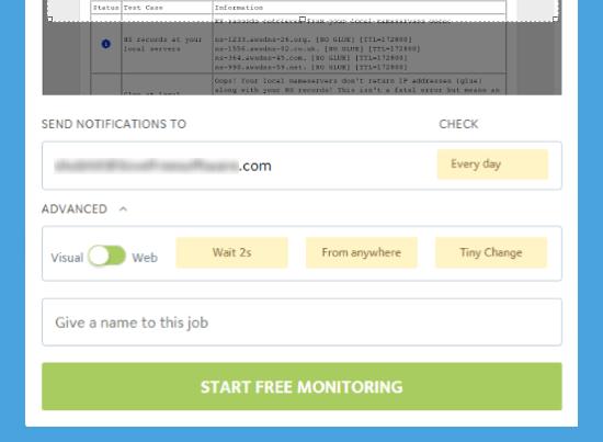Visual Ping: free dns monitoring