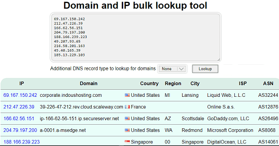 domain and IP lookup tool by InfoByIp