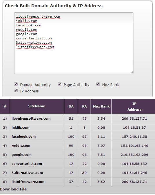 domain authority checker by robingupta