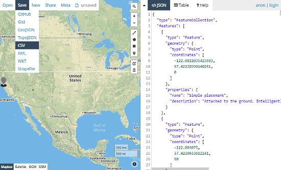GeoJson.io: online Geojson to csv