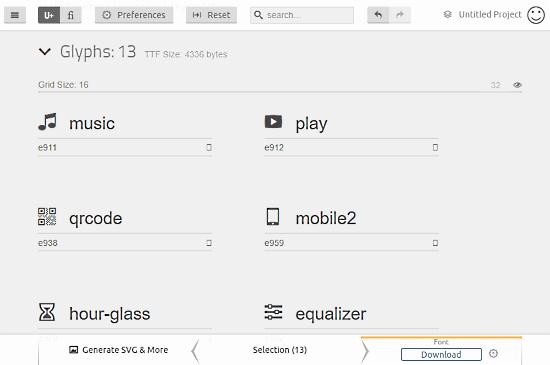 IcoMoon: custom icon font