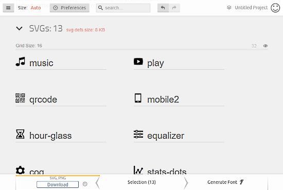 IcoMoon: generate custom icon font