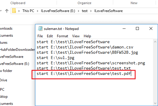 list of files to open