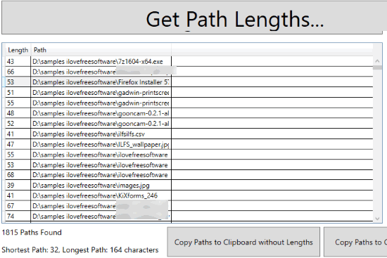 list of paths and path length