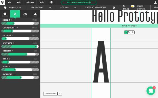 Prototypo: online font creator