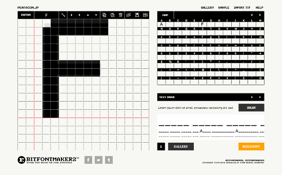 BitFontMaker2: generate font online