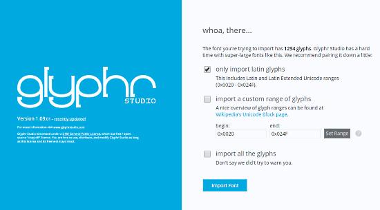 GlyphrStudio: online font editor