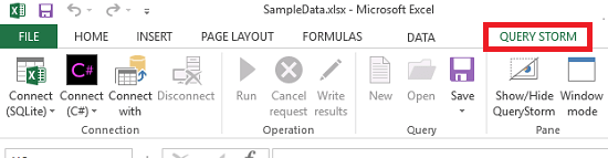 query storm tab in excel