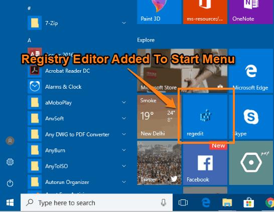 registry editor added to windows 10 start menu