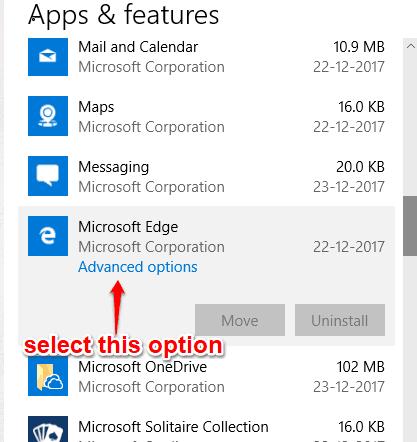 select advanced options