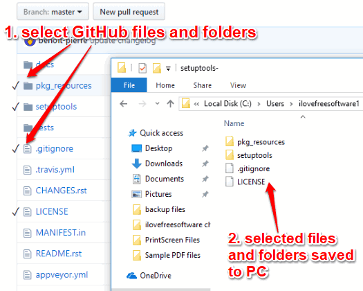 selected files and folders of github repo saved to pc