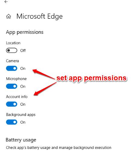 set app permissions