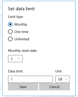 set data limit
