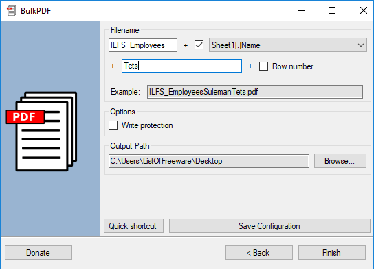 BulkPDF export options specify outputpdf files