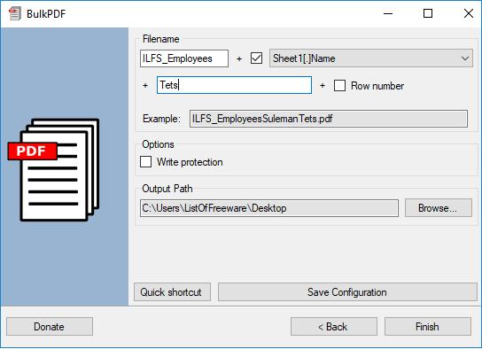BulkPDF export options specify outputpdf files