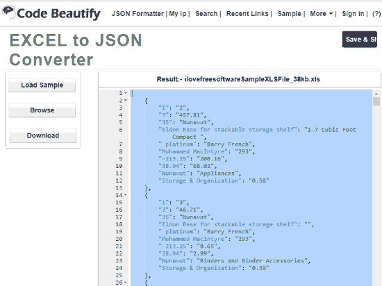 3 Free Online Excel To JSON Converter Websites