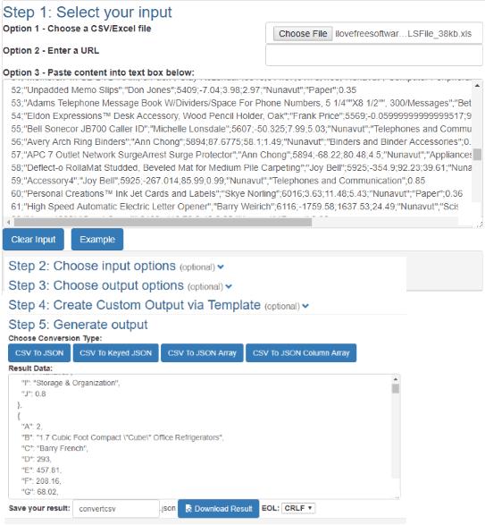 3 Free Online Excel To JSON Converter Websites