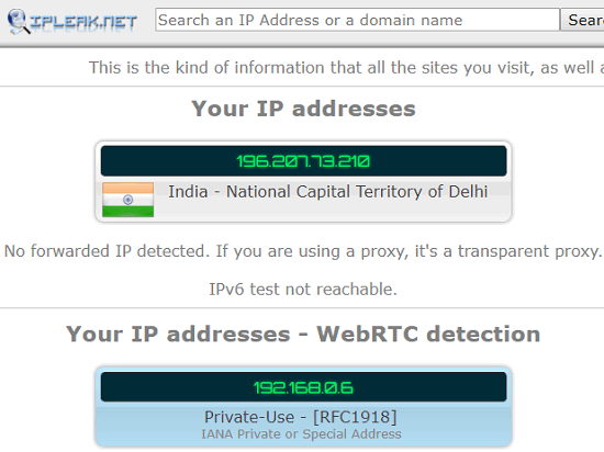 IPLeak.net free vpn leak test