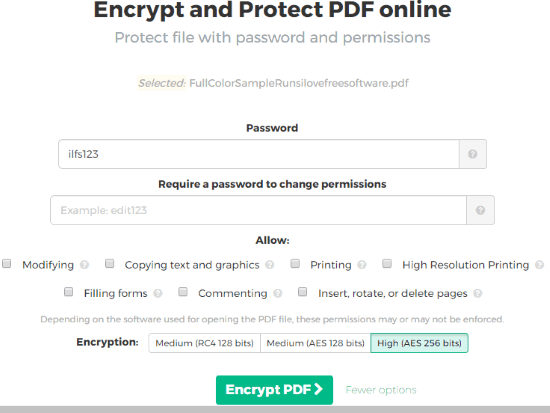 Sejda Encrypt and Protect PDF online