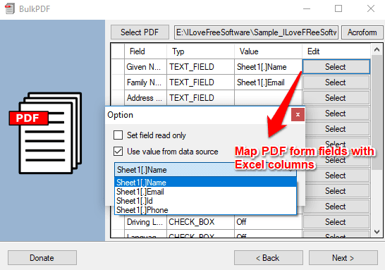Specify fields to map to PDF from excel file
