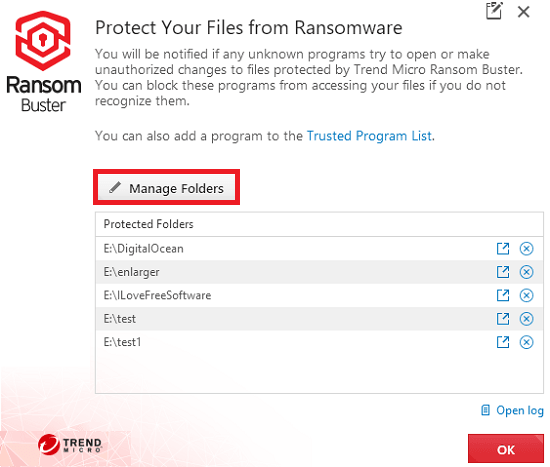 add folders to protect from ransomware in ransombuster