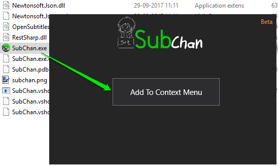 add to context menu