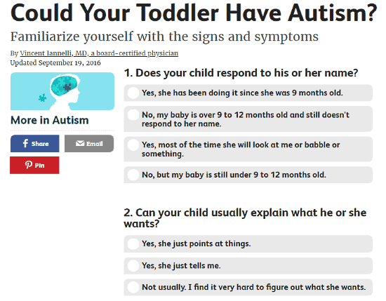 VeryWell.com: autism test for toddlers