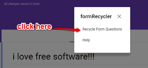 click Recycle Form Questions option
