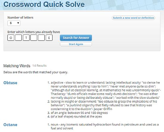 CrosswordSolver.org: crossword clue solver
