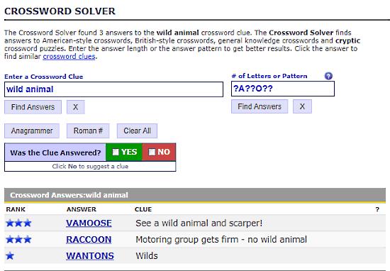 WordPlays.com: crossword clue solver