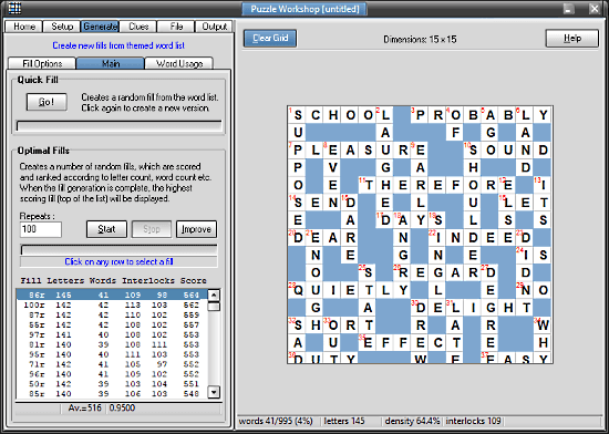 Puzzle Workshop: crossword maker software