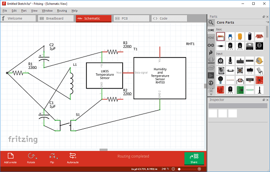 fritzing electrical design software