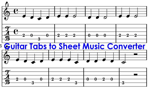 3 free guitar tabs to sheet music converter software. Black Bedroom Furniture Sets. Home Design Ideas