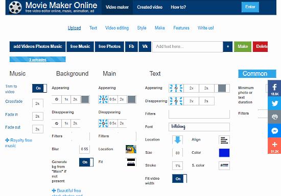 Movie Maker Online: online videos joiner